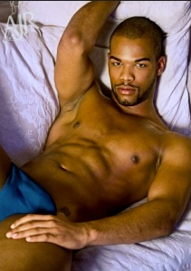 Sexy black guy in bed