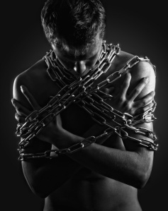 bw man in chains